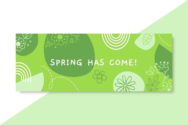 単色の春のfacebookカバーを落書き 無料ベクター