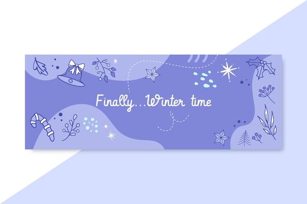 Doodle copertina facebook invernale monocolore Vettore gratuito