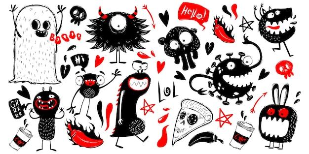 Каракули персонажей монстров на белом фоне Premium векторы
