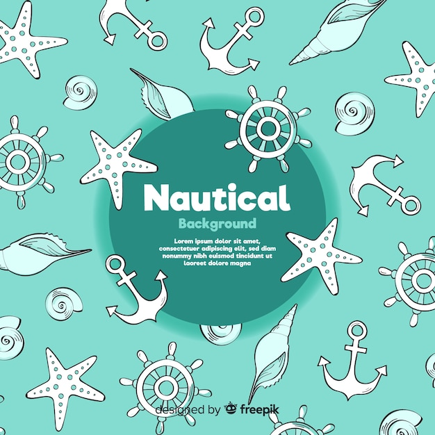 Doodle nautical background Free Vector