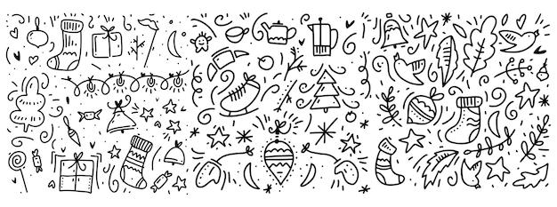 Каракули новый год и зимний узор элементов. изолированные на белом фоне. Premium векторы