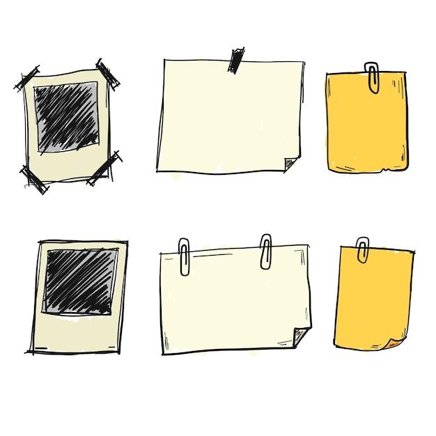 Doodle note paper vectors