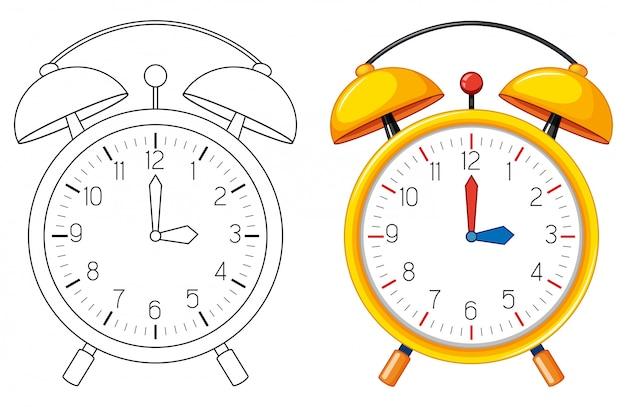 目覚まし時計の落書きオブジェクト 無料ベクター