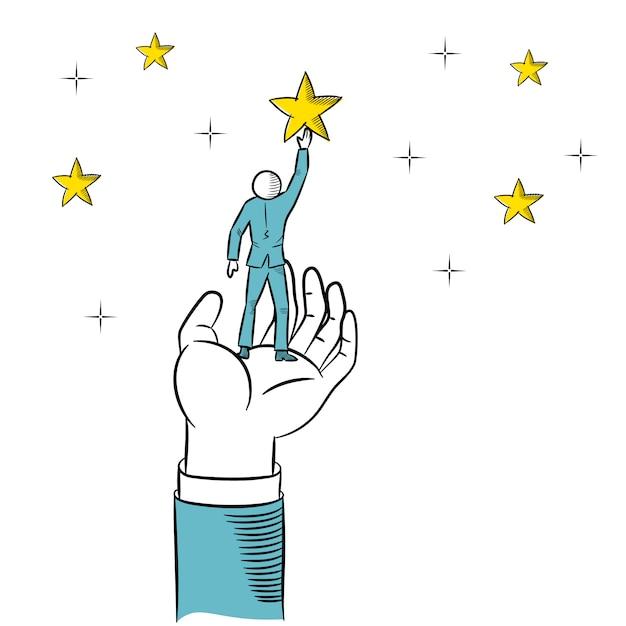 ビジネスマンが星に手を伸ばすのを助ける巨大な手の落書き。ビジネスのベクトル図です。 Premiumベクター