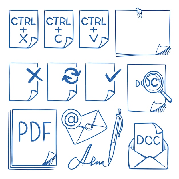Doodle office paper icons with function symbols update