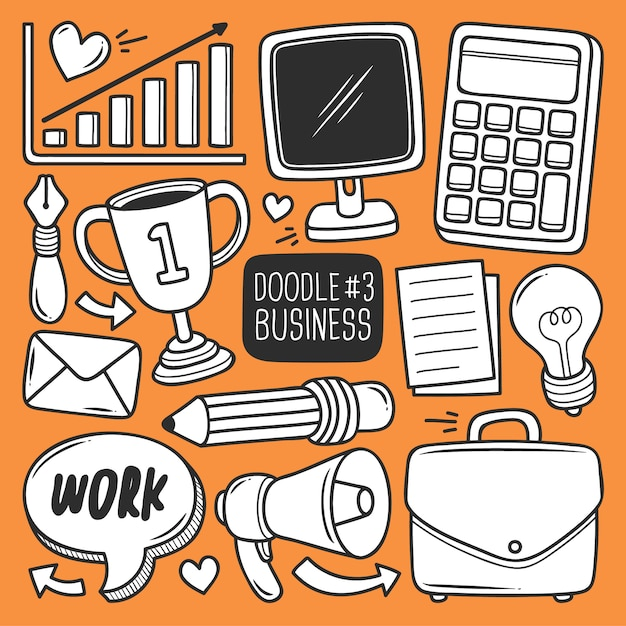 Doodle office supplies set Free Vector