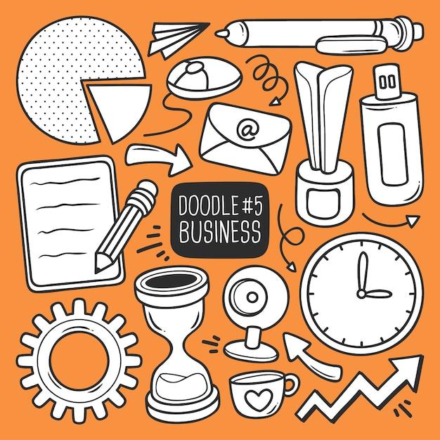 Doodle набор канцелярских товаров Бесплатные векторы