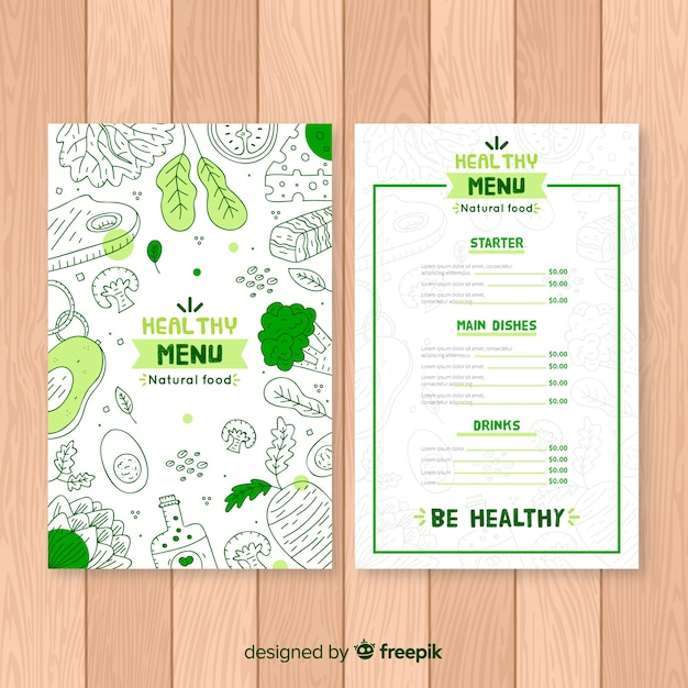 Doodle organic menu template Free Vector