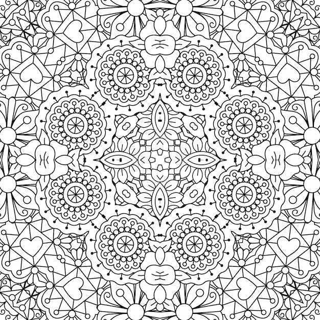 Doodle ornamental pattern with flowers Premium Vector