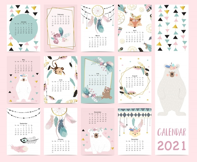 Doodle pastel boho calendar set 2021 with feather,gold geometric,bear,dreamcatcher for children.can be used for printable graphic.editable element Premium Vector