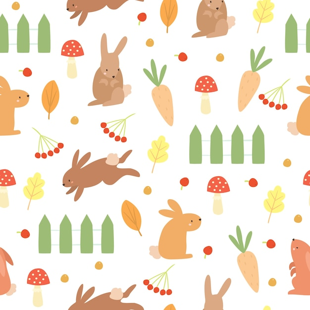 落書きパターンのウサギと菜園 無料ベクター