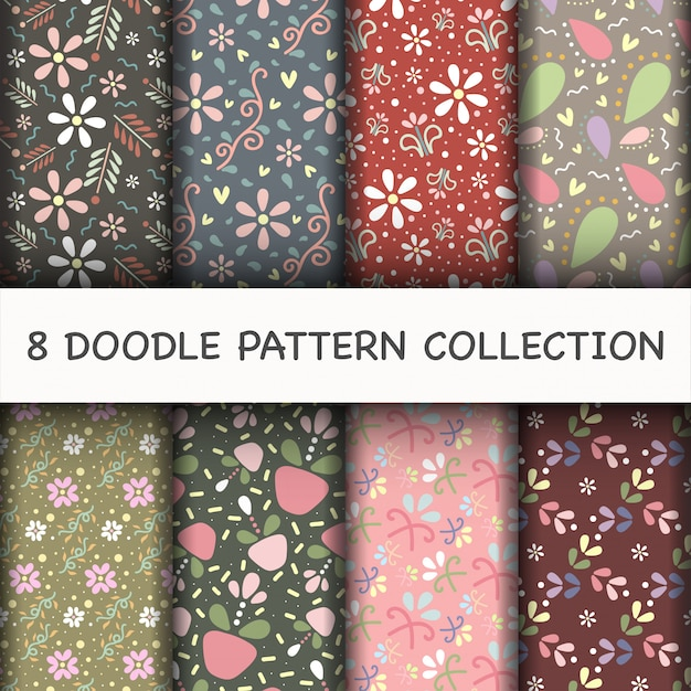 Doodle pattern set with flower Free Vector