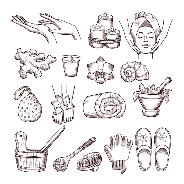 Doodle pictures set for relaxing or massage spa salon. aromatherapy illustrations. aromatherapy and spa for wellness and relax Premium Vector