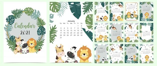 Набор каракули сафари-календарь 2021 со львом, жирафом, зеброй, обезьяной, пальмой для бизнеса. может использоваться для печати графики Premium векторы