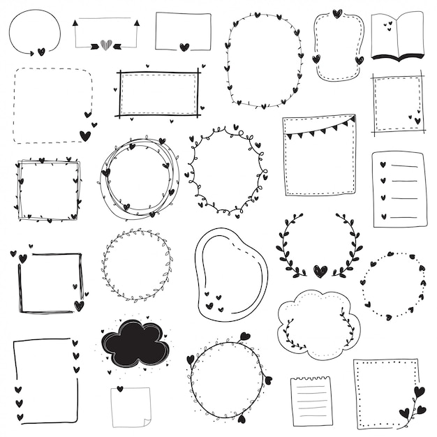 Doodle set black and white line frame and border Premium Vector