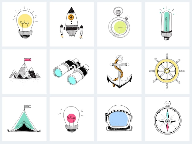 Doodle set of business strategy Free Vector