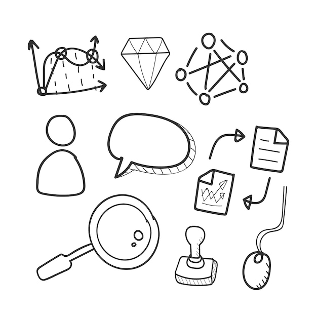 Doodle Set Of Computer Network Icons Vector