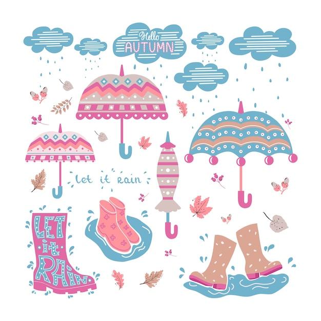 傘、雲、ゴム雲がセットになった落書き。孤立した背景。 Premiumベクター