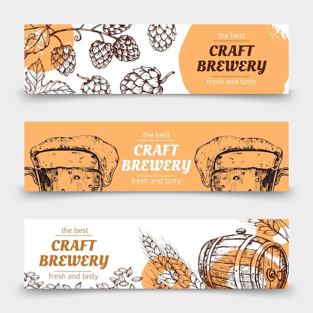 Doodle эскиз пивоварни старинные векторные баннеры с пивом и хмелем Premium векторы