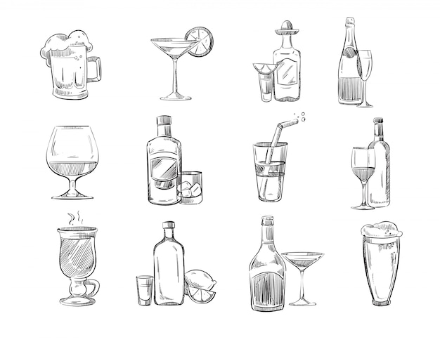 Doodle sketch cocktails and alcohol drinks in glass Premium Vector
