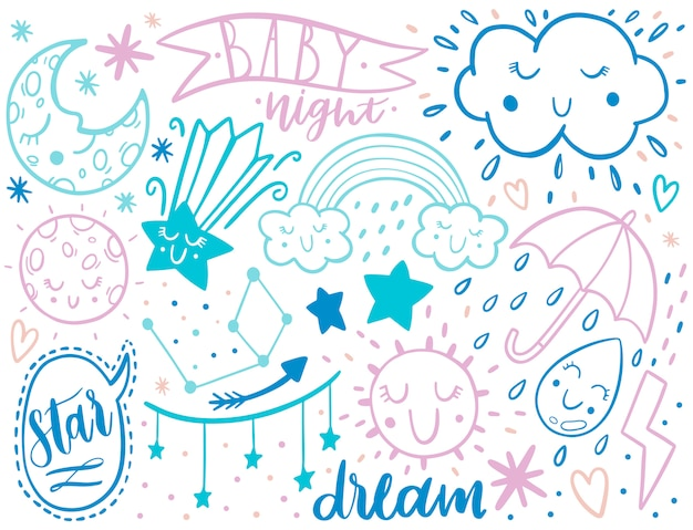 Doodle sketch kids set. hand drawn style. Premium Vector