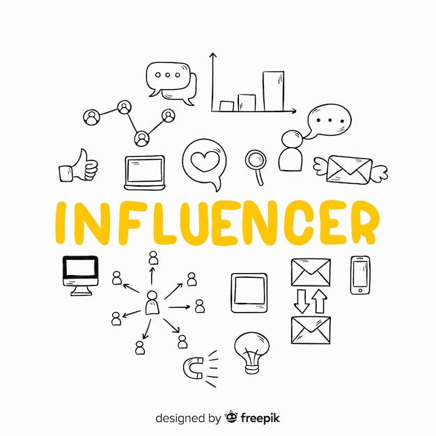 Doodle social influencer background Free Vector