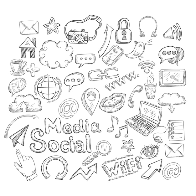 Doodle social media decorative icons set Premium Vector