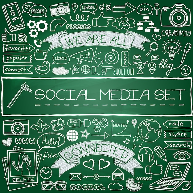 Doodle social media icons set Premium Vector