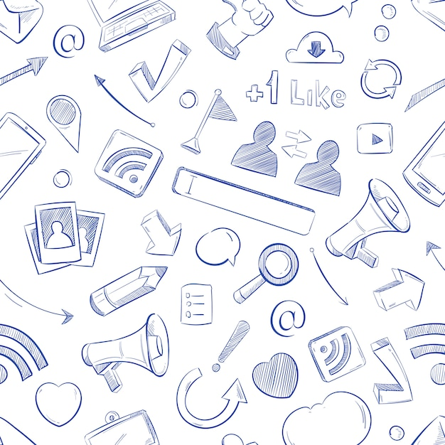 Doodle social media pattern Premium Vector
