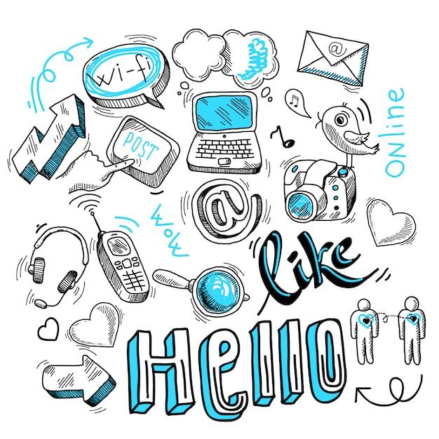 Doodle social media signs Free Vector