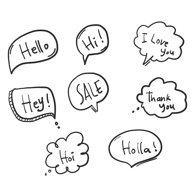 Doodle speech bubbles Free Vector