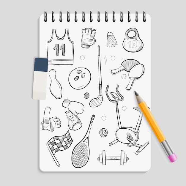 Doodle sport elements on realistic notebook Premium Vector