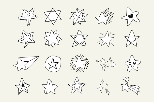Doodle stars set Free Vector