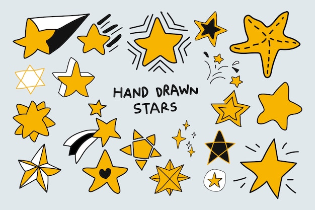 Doodle stars set Free Vector