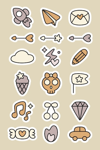 Doodle stickers planner set Free Vector
