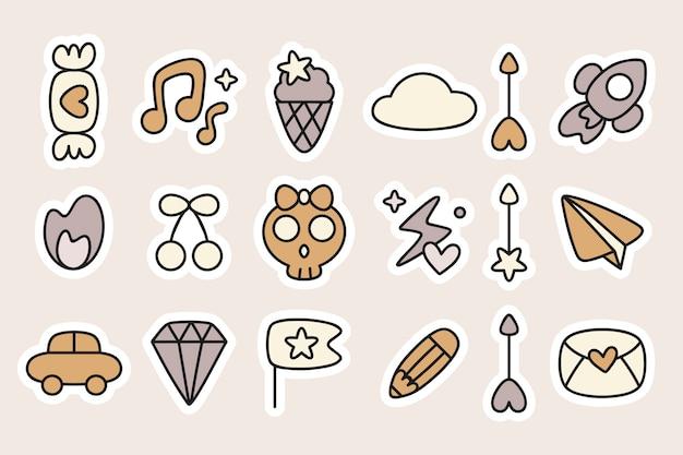 Doodle stickers planner set Free Vector