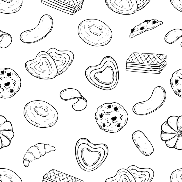 Doodle style of biscuits or cookies in seamless pattern Premium Vector