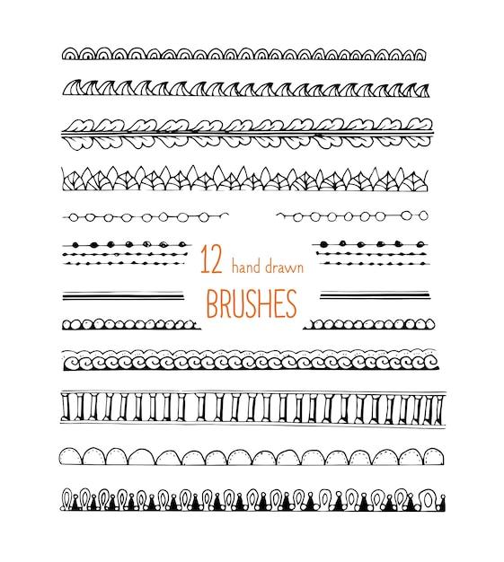 Doodle стиль кисти набор орнаментов Бесплатные векторы