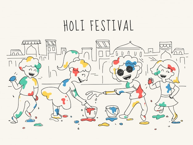 Doodle style illustration of happy kids character celebrating holi festival in front of house cities. Premium Vector