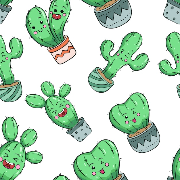 Doodle style of kawaii cactus in seamless pattern with cute face Premium Vector