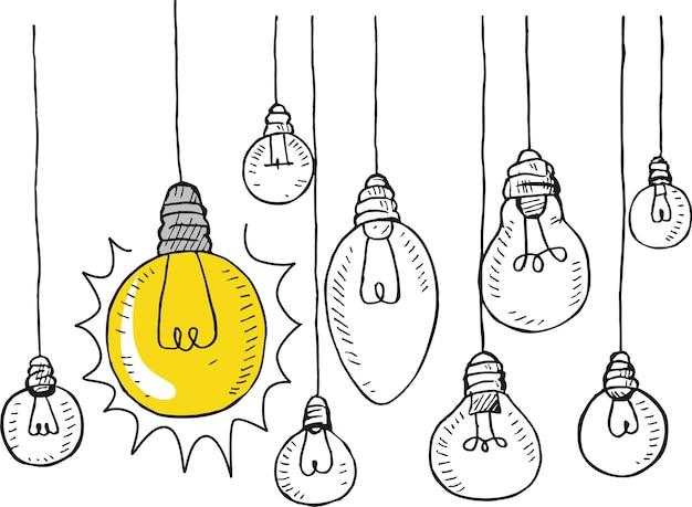 Doodle Style Light Bulb Illustration Vector