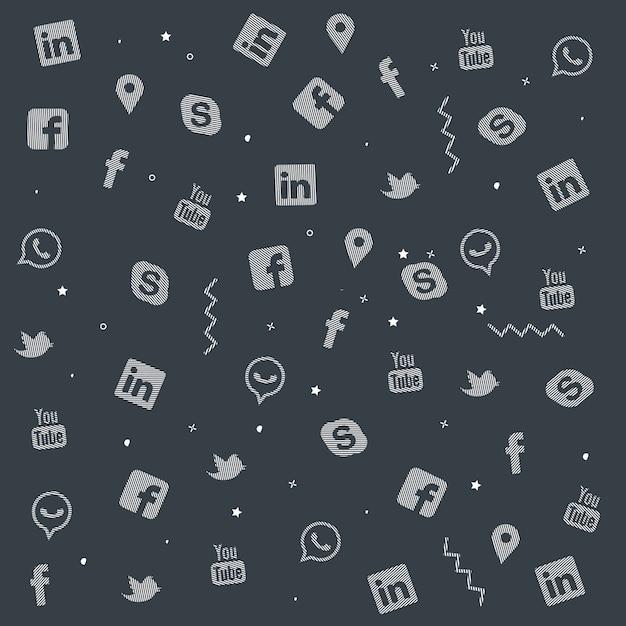Набор красочных социальных медиа doodle texture design Premium векторы