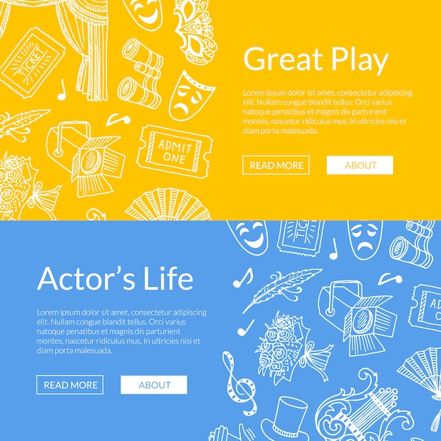Doodle theatre elements set of web banners great play illustration Premium Vector