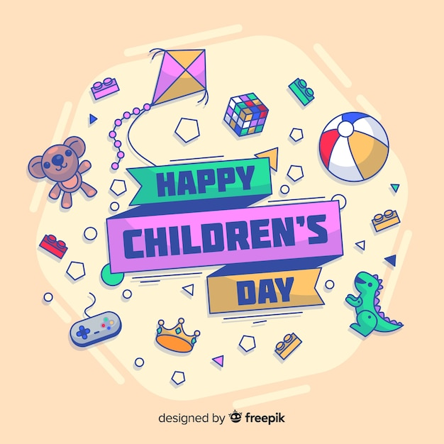 Doodle toys childrens day background Free Vector