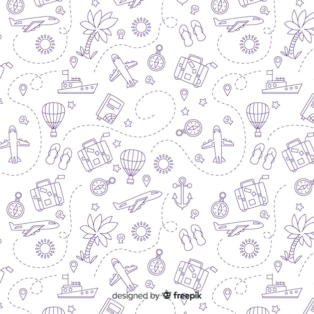 Doodle travel background Free Vector