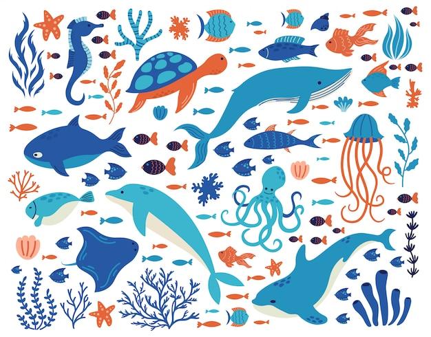 水中の動物を落書き。海の生き物、手描きの海洋生物、イルカ、クジラ、カメ、タコ、サンゴ、海の植物のイラストセット。動物の野生生物を描く水中海 Premiumベクター