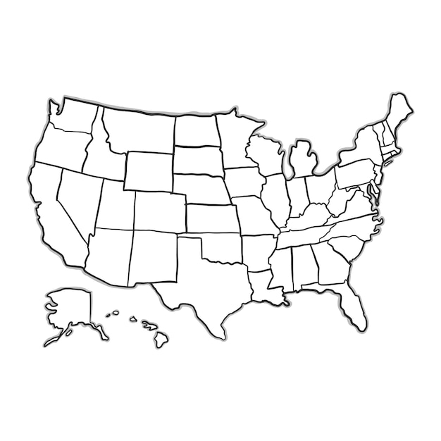 Usa Map Vectors Photos And PSD Files Free Download - Black and white usa map