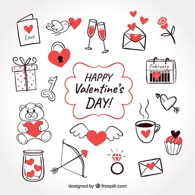 Doodle valentine's day element collection Free Vector