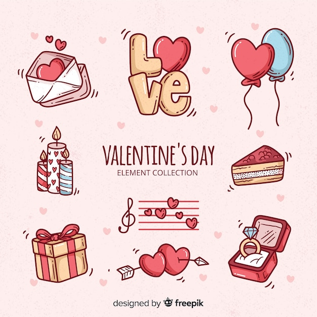 Doodle valentine's day elements collection Free Vector