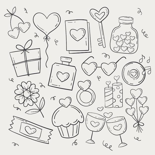 Pacchetto di elementi di san valentino di doodle Vettore gratuito